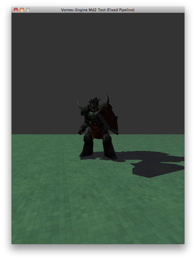 A demonstation of Vortex's Stencil Shadow Volumes implementation: A Knight being lit by a green light, casting a shadow on a tiled floor.