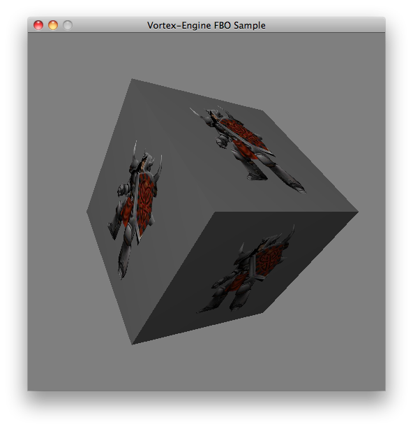 Vortex Framebuffer Object Support: a knight is rendered on a texture that is then mapped on a cube. All rendering is done on the GPU, avoiding expensive copies to RAM.