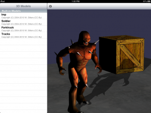 Shadow mapping on iPad. The shadow is calculated in realtime and animates as the model moves.
