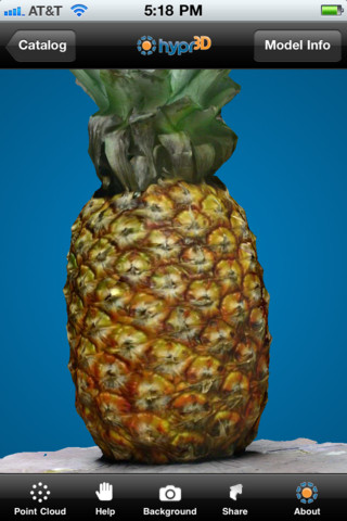 Hypr3D rendering a reconstructed pineapple model on an iPhone.