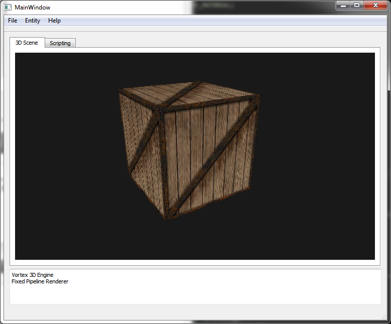"A very early screenshot depicting a scene with a Box entity. No lighting, no mipmapping, no AA. ""Crate"" texture image courtesy of lighthouse3d.com"