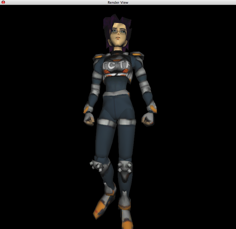 "Konoko, main character of the game ""Oni"" by Bungee. OpenGL rendered with texture mapping and Phong Shading."