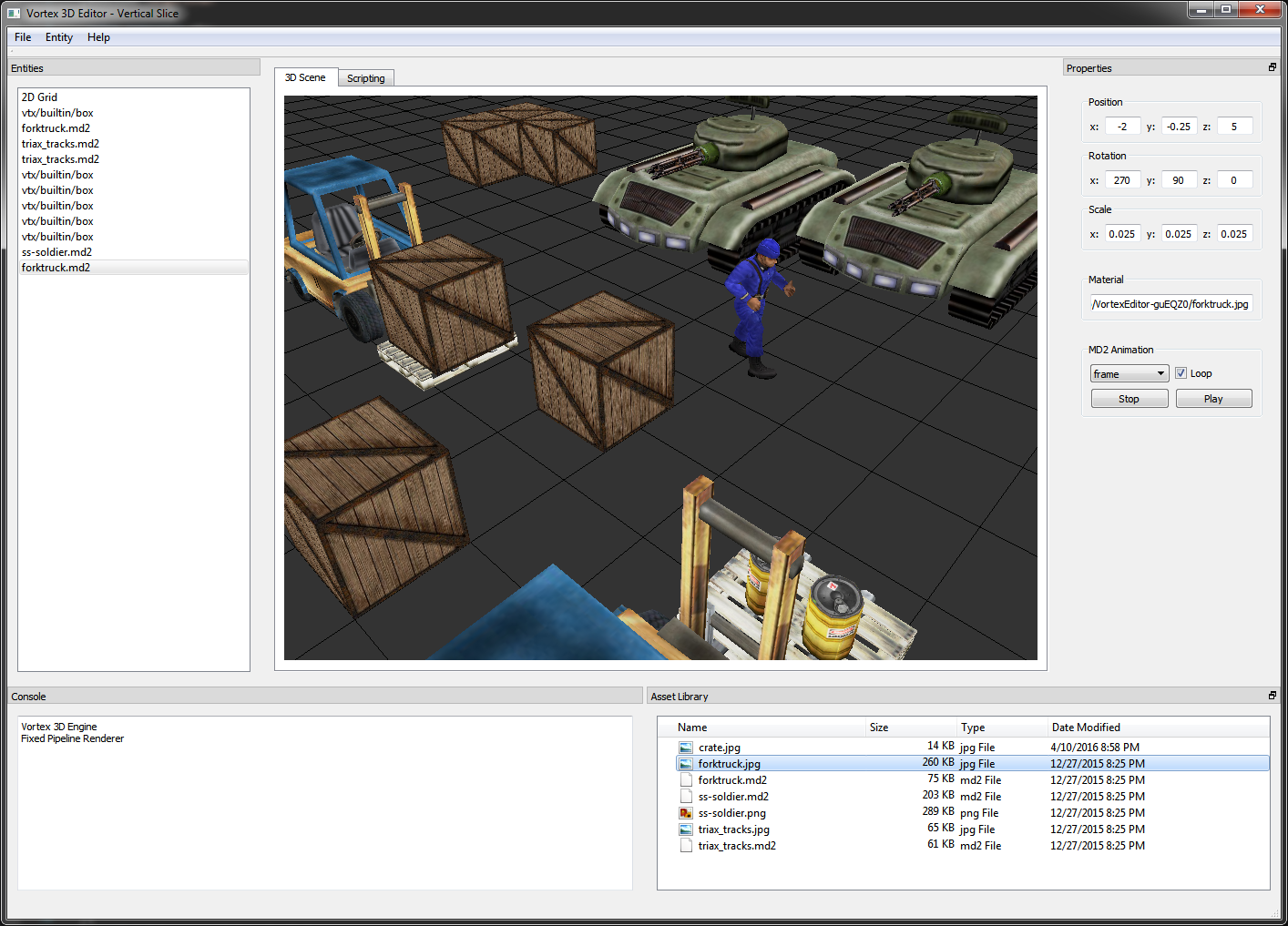 Building a scene for the Vortex Engine using the Vortex Editor.