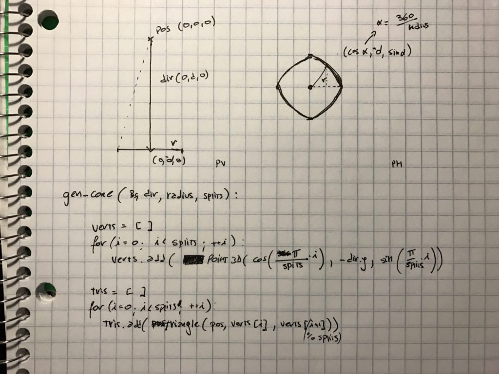 Math and Pseudocode for generating a cone procedurally.