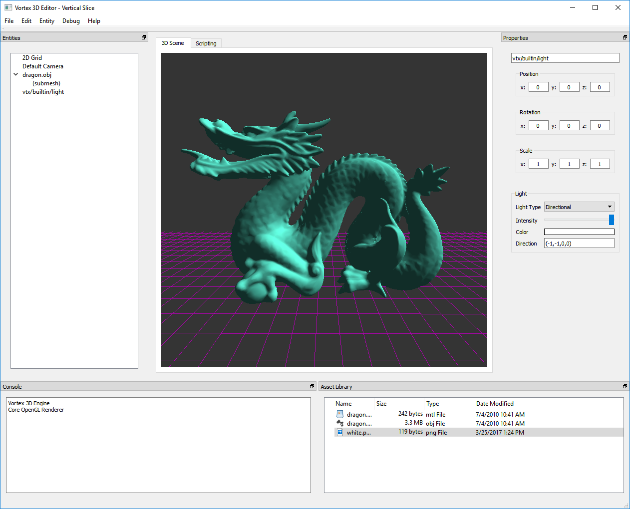 The Stanford Dragon 3D model rendered with a single directional light by the new deferred renderer.