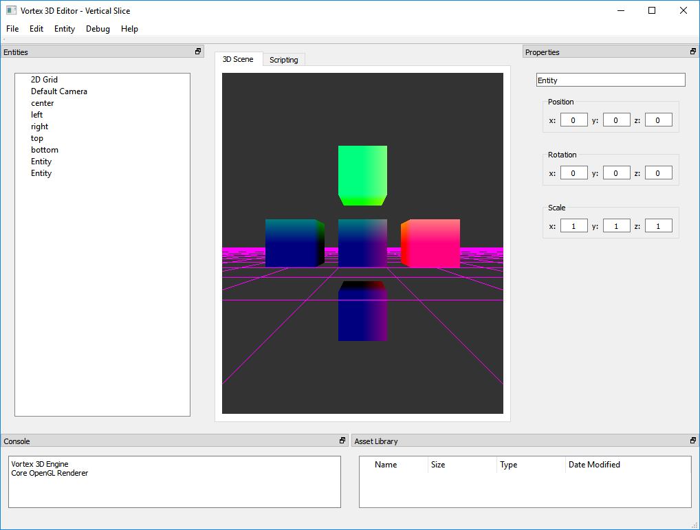 A test of the G-Buffer. Colors correspond to the coordinates of the vertices in world space.