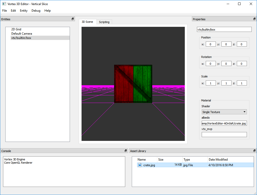 A test of Multi-Render Targets in Vortex 3. Texels from the left half of the box come from a texture, whereas texels from the right half come from another.