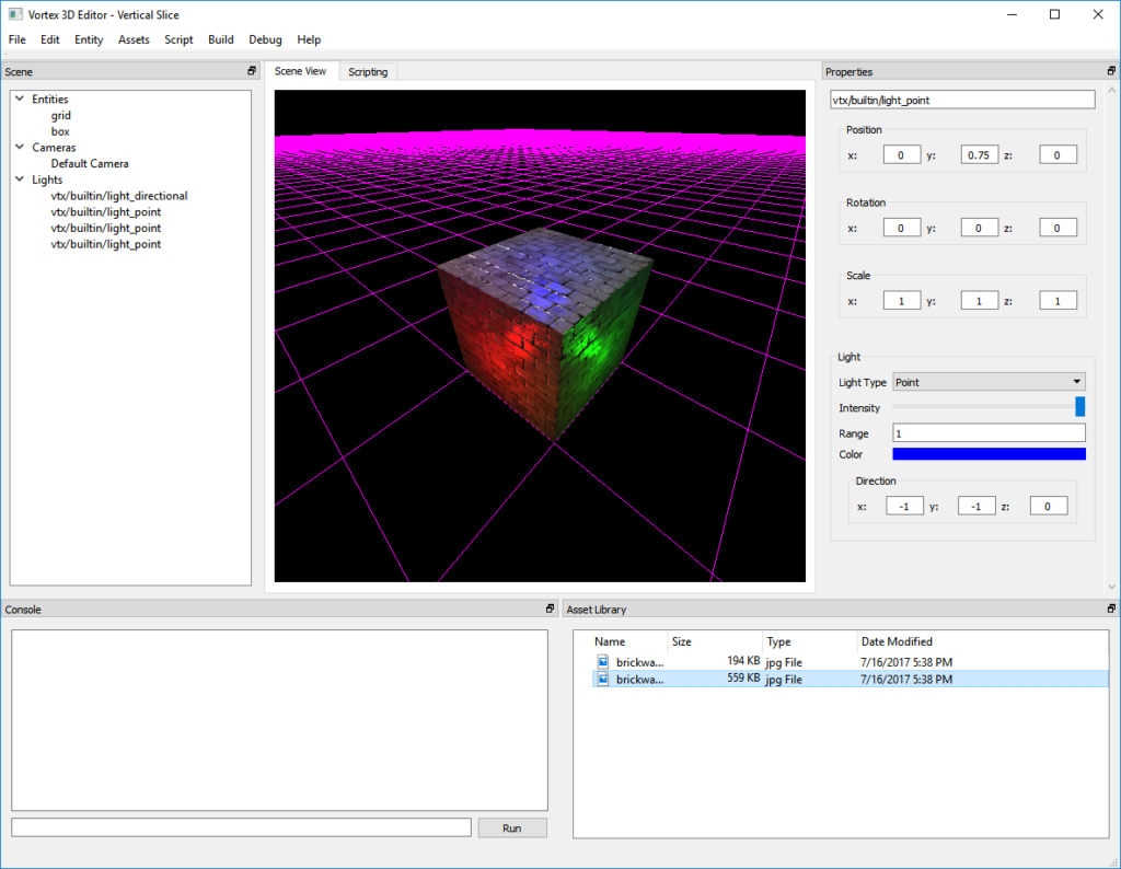 Vortex Engine 3.0 - Our trusty old friend, the test cube, being lit by 3 realtime deferred point lights.
