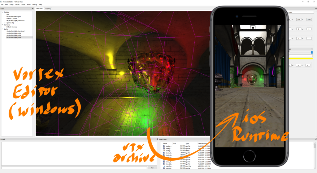 Vortex Editor and Runtime. Using a .vtx archive, 3D worlds built in the Editor can now be packaged with their resources and run on the Engine. In this image, the sponza scene as set up in Editor, is running on the Vortex Runtime for iOS.